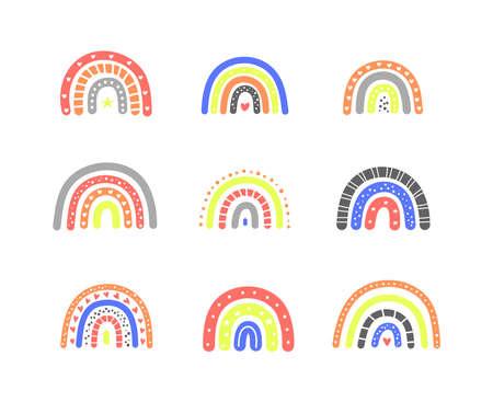 Set of cute Scandinavian rainbows.