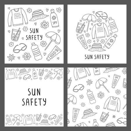 Set of cards with doodle sun safety icons.