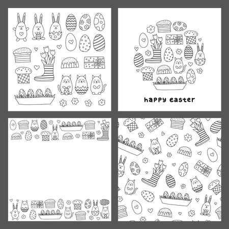 Set of cards with doodle decorative Easter icons. Ilustrace