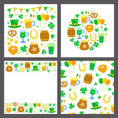 Set of cards with doodle Saint Patricks day icons.