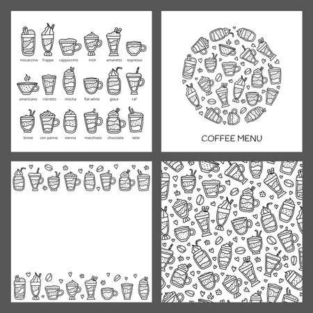Set of cards with doodle coffee drinks.