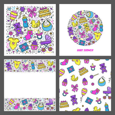 Set of cards with doodle baby shower icons. Ilustrace