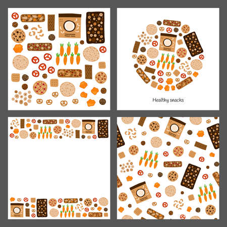 Set of cards with doodle healthy snacks.