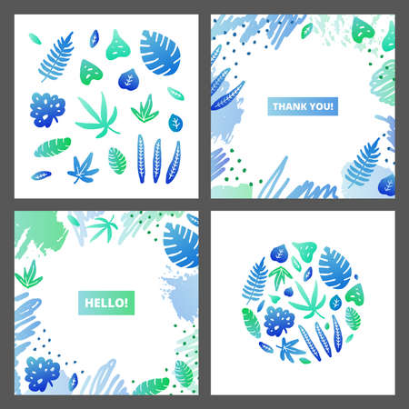 Set of cards with doodle tropical jungle leaves. Ilustrace