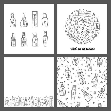 Set of cards with doodle skin care serum, ampoule, essence bottles.