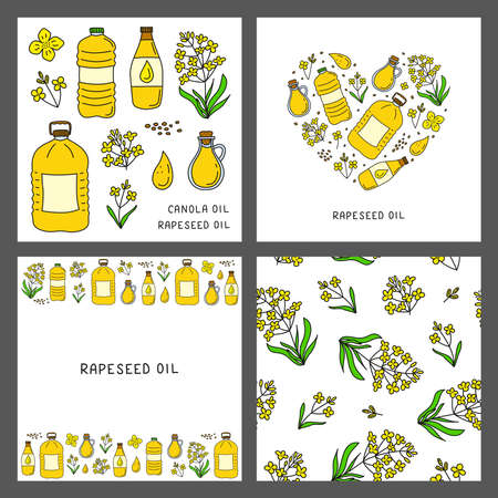 Set of cards with doodle canola or rapeseed oil, flowers.