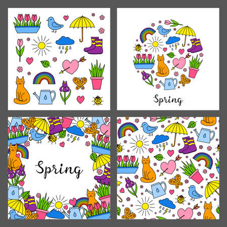 Set of cards with doodle seasonal spring icons.