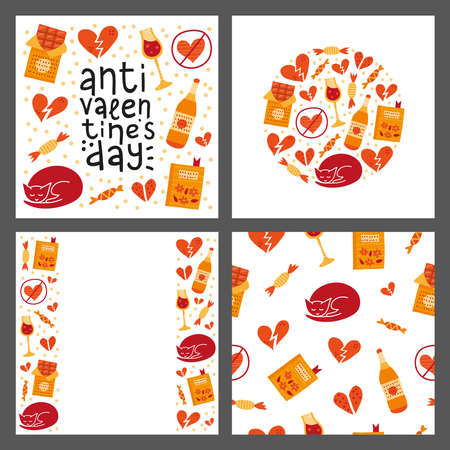 Set of cards with doodle anti Valentines day icons. Ilustrace