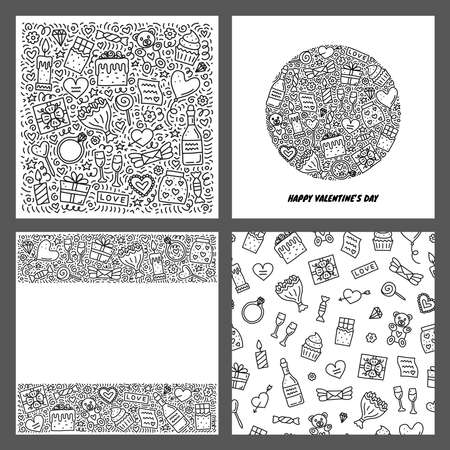 Set of cards with doodle Valentines day icons. Ilustrace
