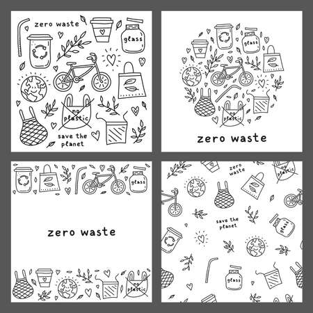 Set of cards with doodle zero waste icons.