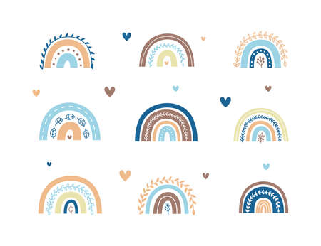 Set of Scandinavian leafy rainbows with hearts.