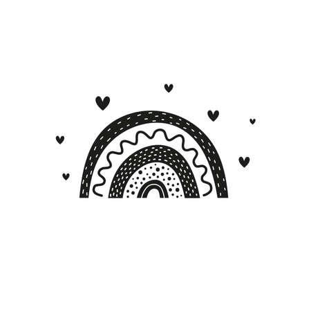 Black Scandinavian rainbow with hearts.