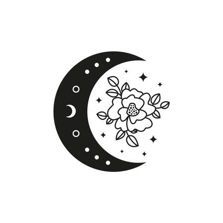 Bohemian crescent moon with outline flower. Ilustrace