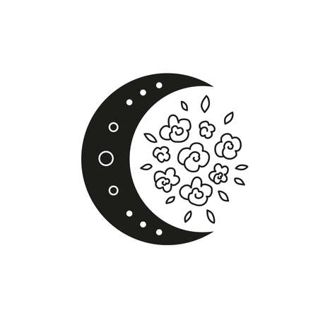 Bohemian crescent moon with outline flowers.