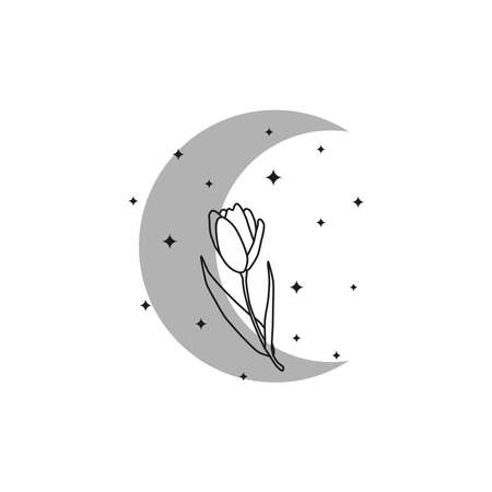 Bohemian crescent moon with outline tulip.