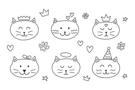 Set of cat faces with doodles and hearts, paws around. Ilustrace