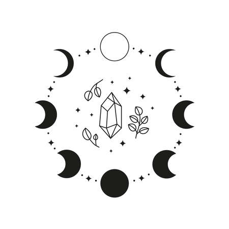 Hand drawn black celestial moon phases in circle.