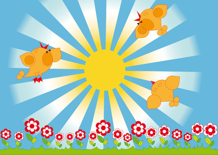 Spring landscape. Singing birds and flowers on the background of the sun Illustration