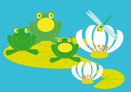Three frogs troll songs sitting on a piece of lilies Vector