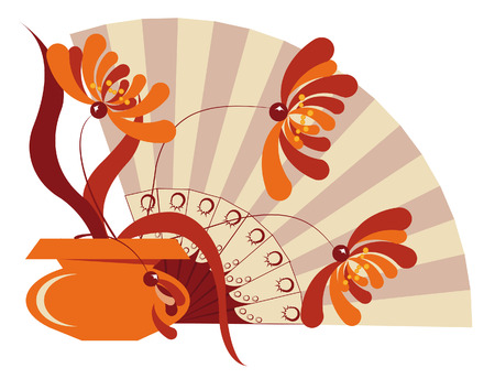 Still life. Exotic flowers in the vase and the Orange open fan Stock Vector - 5406349
