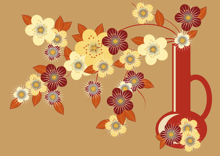 stylized flowering branches in the brown cruse on beige background Illustration