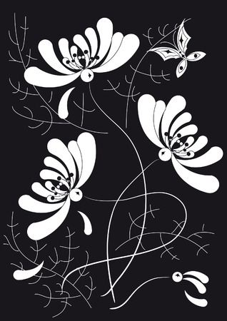The decorative pattern of white flowers and thin twigs on a black background Stock Vector - 5406346