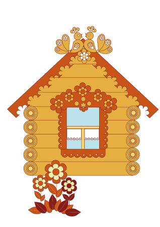 Small carved wooden country house Vector