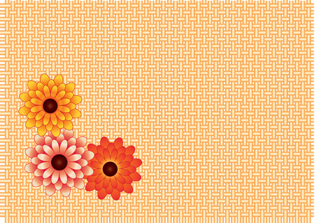 background of interwoven twigs and three chrysanthemum Vector