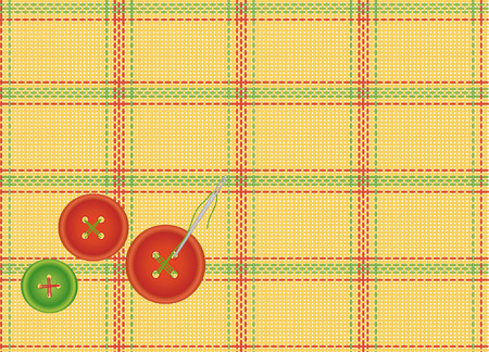 craft material tinker: textile background with a needle and prishitymi buttons Illustration