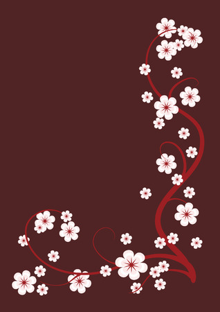 Blossoming cherry branches for  brown background. Illustration