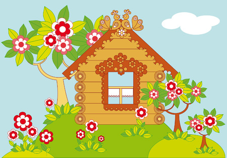 Pastoral illustration with a wooden country house and garden with flowering trees