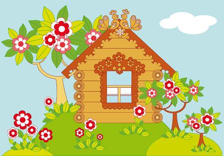 Pastorale Illustration mit einem hölzernen Landhaus und Garten mit blühenden Bäume Standard-Bild - 5470658