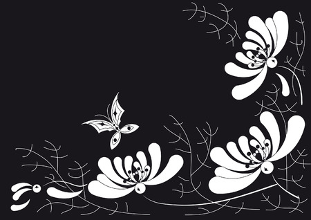 The decorative pattern of white flowers and thin twigs on a black background