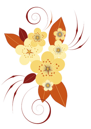 Composition of stylized flowers and leaves in beige and brown on a white background