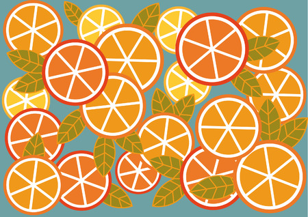 Graphic bright background of citrus fruits and leaves Vector