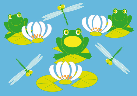 among: frogs troll songs on the lake among the lilies and dragonflies Illustration