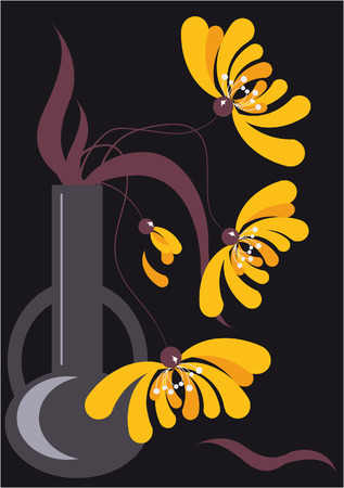 temperate: Three stylized yellow chrysanthemums in high vase on a black background
