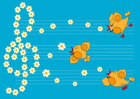 birds sing cheerful songs of spring. Music, flowers are formed in the treble clef. Vector