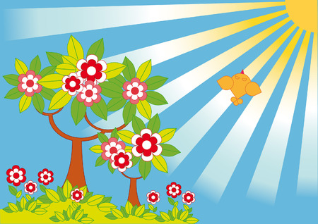 Idyllic spring landscape. Blossoming trees in the background of the bright sun Stock Vector - 5488837