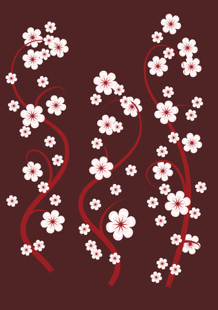 The pattern of the branches of cherries on brown background Vector