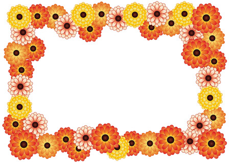 calendula flower: frame of bright yellow and orange flowers on a white background