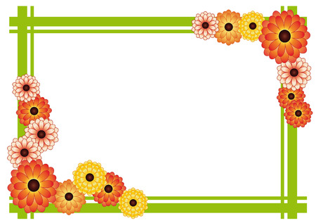 calendula flower: frame of bright yellow and orange flowers and green strips on a white background