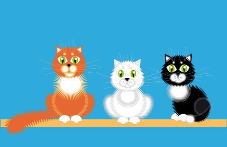 Three cat, white black and red sit together.