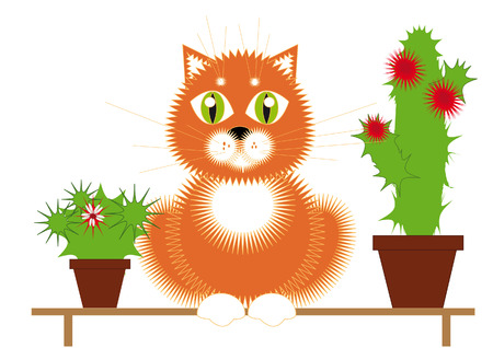 Red cat sitting on a bench among the flowering cactuses Stock Vector - 5545151