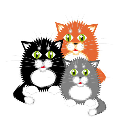 Small funny kittens. Red, black and gray Illustration