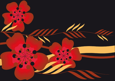 Stylized large red flowers and leaves on a black background Illustration