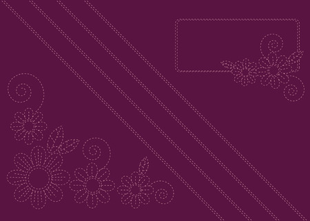 Burgundy background with imitation of embroidery colors Illustration