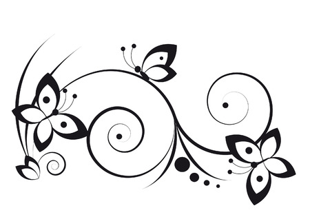 Black and white vignette in a graphic style with butterflies and scrolls Vetores