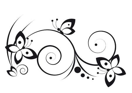 vectors abstract: Negro y etiqueta blanca con un estilo gr�fico con las mariposas y pergaminos Vectores
