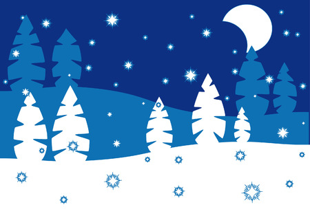 night in the winter forest, snow Stock Vector - 5545164